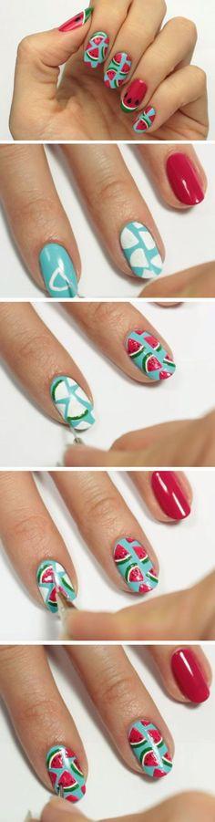 Cute Watermelon Slice   18 Easy Summer Nail Art for Short Nails that scream summer!
