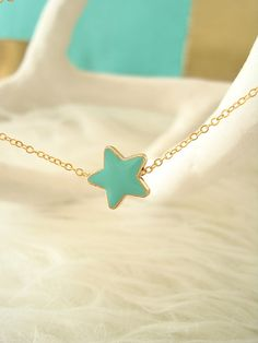 Aqua Star Necklace Dainty Star Necklace by EfZinCreations on Etsy, $12.00