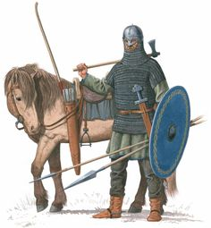 "How Was a Viking Chieftain Armed? The Gjermundbu Discovery Reveals the Answer Based on the findings in the Gjermundbu I grave dating back to the years 950 – 970 AD, this is how a Viking chieftain was armed. (Illustration from the book ""Vikings at War"", Viking Warrior, Viking Life, Viking Art, Medieval Armor, Medieval Fantasy, Ancient Armor, Viking Reenactment, Germanic Tribes, Early Middle Ages"