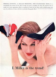 Mary Jane Russell with shoes that feature interchangeable heels created by Andre Perugia for I. Interchangeable Heels, Shoe Cupboard, Shoe Advertising, Survival Knots, Jane Russell, Retro Shoes, Inventions, Mary Janes, Fashion Accessories