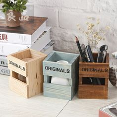 New creative Retro Wood Pen Holders School Office Students Pencil Holder desktop storage box gift 914 _ - AliExpress Mobile Version - Wood Pen Holder, Pencil Holder, Pen Holders, Scrap Wood Crafts, Diy Wood Projects, Wooden Diy, Wooden Boxes, Wooden Pencil Box, Desktop Storage
