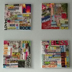 Magazine art on canvas  Shelly here is the perfect project for all those magazines you have hoarded! Art for the girls room