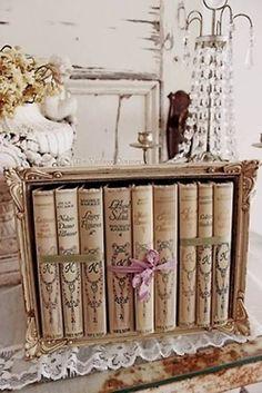 Vintage books in a shabby box frame Old Books, Antique Books, Vintage Books, Vintage Shabby Chic, Shabby Chic Decor, Shabby Chic Crafts, Decoration Shabby, Fru Fru, Book Nooks