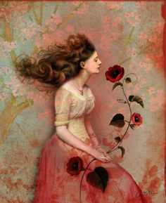 ⊰ Posing with Posies ⊱ paintings & illustrations of women & children with flowers - Catrin Welz-Stein | ArtisticMoods.com