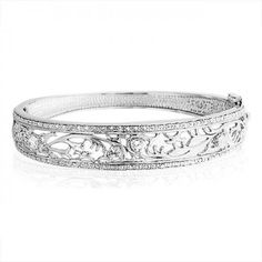Sterling Silver CZ Pave Leaves Bangle Bracelet