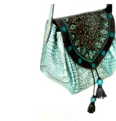 CROC CARRIEL / colombian satchel bag in handpainted by yoluyolu, $260.00