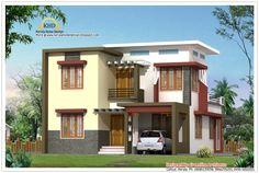 Kerala home design New Model House, Model House Plan, Indian Home Design, Kerala House Design, Contemporary House Plans, Modern House Design, Villa Design, Free House Plans, House Floor Plans