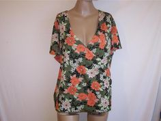 SAG HARBOR Shirt Top Womens 2X Crossover Short Cap Sleeves Green Orange Floral #SagHarbor #KnitTop #Casual