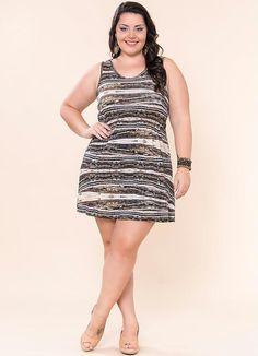 Vestido Viscose Estampado (Marrom) Miss Masy Plus