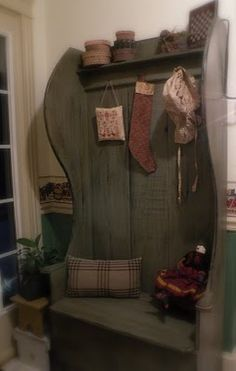 """So I got an old """"kings chair"""" at the auction yesterday, looks nothing like this, but it will when I'm done. The Primitive Country Bug; amazing hall chair and cute blog"""