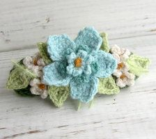 Crochet Hair Barrette Pink with Blue Flowers by ~meekssandygirl on deviantART