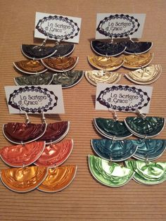 orecchini 3 capsule nespresso Diy Earrings, Earrings Handmade, Handmade Jewelry, Paper Jewelry, Diy Jewelry, Coffee Pods, Bijoux Diy, Sell On Etsy, Vintage Christmas