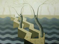 Slate Blue Breakwater Surreal Seascape Painting, Home Decor, Breakwater Painting, Blue Seascape by Anna Roberts Art