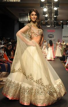 Ileana D'Cruz in Anushree Reddy http://www.kalkifashion.com/designers/anushree-reddy.html @ Lakme Fashion Week #LFW Summer/Resort 2014