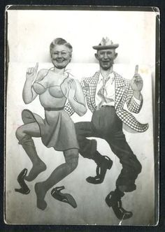 Grandma and Grandpa kick up their heels in an arcade photo - go granny!