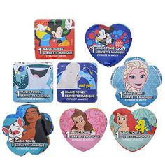 Drop them in water and watch them grow! Fun magic towels start out as a 2.25-in. disk, but expand into a full-size square washcloth picturing their favorite Disney® characters. Perfect for prize b