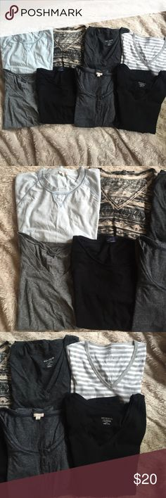 8 T-Shirt Bundle⚡️⚡️ Awesome assortment of must have basic t-shirts! All are in great condition, some brand new. Bundle Includes. GAP Lightweight Light Blue Sweatshirt (M), GAP Black Scoop Neck T NWT (S), GAP Gray/White Striped Modern T NWOT (M), GAP Gray 3/4 Sleeve Shirt (S), Merona Black Long Sleeve V-Neck (S), Mossimo Multi-Color Patterned V-Neck T (S), 2- Old Navy V-Neck T's Dark & Light Grey T-Shirts (S). Let me know if you have any questions! Gap Tops Tees - Short Sleeve