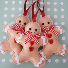 Set of 3 Gingerbread Man Felt Tree Ornaments. $25.00, via Etsy.