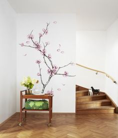 Asian Wind - Mr Perswall Wallpapers - A stylised blossom tree with hand drawn detailing - shown in pretty pink flowers with petals blowing in the wind. Total mural size wide x high. SORRY SAMPLES NOT AVAILABLE. Paste-the-wall product. Asian Wallpaper, Photo Wallpaper, Design Your Own Wallpaper, Wallpaper Manufacturers, Hippie Flowers, Pink Flowers, Asian Home Decor, Wallpaper Online, Blossom Trees