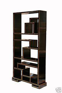 Oriental Black Lacquer Display Cabinet Bookcase s583s