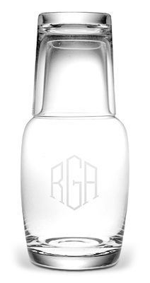 Monogrammed Night Bottle Set // love this for juice or flavored water on my bedside