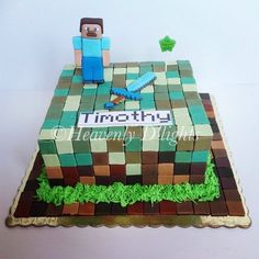Minecraft Creeper Cake For An 11 Year Old By Finesse Cakes Minecraft Birthday Cake, Minecraft Cake, Minecraft Party, Minecraft Mods, Minecraft Ideas, Birthday Cakes, Creeper Cake, Cake Decorating With Fondant, Cake Shapes