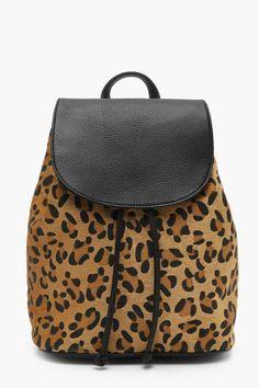 66711e8b25 boohoo Olivia All Over Leopard Rucksack Leopard Print Bag, Leopard Print  Outfits, Fall Handbags