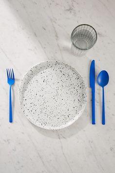 12-Piece Matte Blue Flatware Set