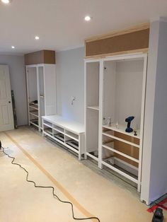 Built-in Entertainment Center hacked from HEMNES units – IKEA Hackers - entertainment center ideas living room Basement Remodel Diy, Basement Renovations, Home Remodeling, Basement Ideas, Basement Bathroom, Basement Designs, Basement Storage, Basement Walls, Basement Family Rooms