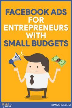 Facebook Ads for Entrepreneurs with Small Budgets via @KimGarst Facebook Marketing Strategy, Business Marketing, Content Marketing, Social Media Marketing, Marketing Strategies, Business Tips, Digital Marketing, Using Facebook For Business, How To Use Facebook
