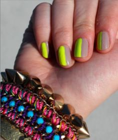neon + nude nails