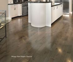 New gray stained maple floors.