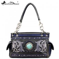 """Montana West """"Western Concho"""" Collection Handbag and Wallet Set Western Purses, Black Handbags, Turquoise Stone, Montana, Westerns, Shoulder Bag, Wallet, Blue, Accessories"""