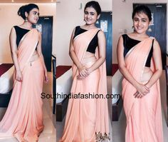Shalini Pandey in plain saree with black crop top