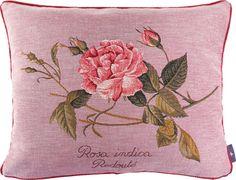 Coussin 40x50cm Rosa Centifolia. Tissé jacquard. Tissé en France par Tissage Art de Lys