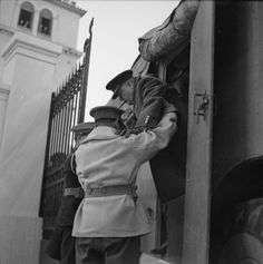 Prime Minister Winston Churchill is helped out of an armoured control vehicle in Athens in December Berlin, Ww2 History, Greek History, The Blitz, British Prime Ministers, Military Operations, Kings Man, Winston Churchill, Back In The Day
