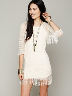 Free People Fringed Crochet Raglan Dress, $396.00