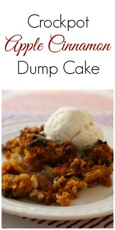 Have you ever tried a dump cake? Make this one in the Crockpot!   Perfect for all those Fall flavors! #crockpot #slowcooker #dessert