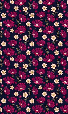 Black and magenta floral pattern Flowery Wallpaper, Cute Wallpaper Backgrounds, Pretty Wallpapers, Flower Backgrounds, Screen Wallpaper, Mobile Wallpaper, Pattern Wallpaper, Cellphone Wallpaper, Iphone Wallpaper