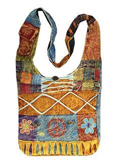 fd126767b7 Lungta Boho Bohemian Peace Signs Spiral Patch Sling Crossbody Monk Bag  Purse Nepal