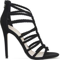OFFICE Adder plait heeled sandals ($73) ❤ liked on Polyvore featuring shoes, sandals, black, black strap sandals, black heel sandals, strappy sandals, braided leather sandals and strap heel sandals
