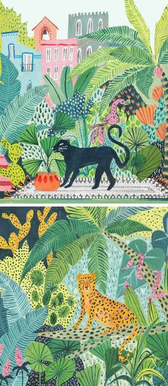 Illustrator Amber Davenport creatures hypnotic jungle illustrations. They're a collision of color and texture, inviting you to spend ample time with them.