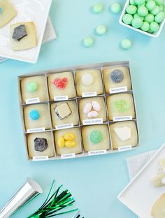 """These DIY """"rock and mineral"""" cookies are a clever play on rock collecting. How fun for a rock and mineral themed party . Vintage Wedding Favors, Metal Christmas Tree, Rocks And Minerals, Happy Day, Geology, Cookie Decorating, Kids Meals, Party Time, Sweet Treats"""