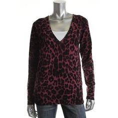 JUICY-COUTURE-NEW-Pink-Wool-Cashmere-Blend-V-Neck-Pullover-Sweater-Top-XL-BHFO
