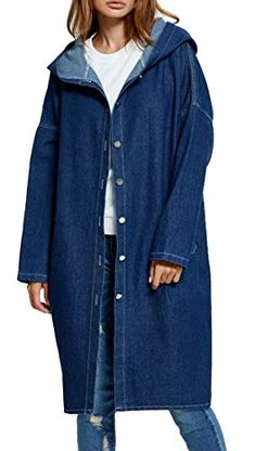 bb3c3fafc62 Beloved Women's Hooded Denim Jacket Casual Long Sleeve Trench Coat Jean  Windbreaker