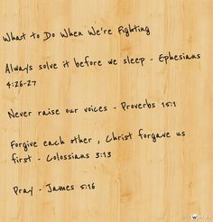 Scriptures for when you are arguing with your spouse/boyfriend/girlfriend.  Good to return to in times of heated fights.