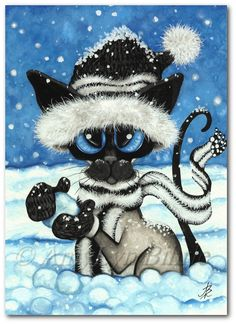 Siamese Cat Snowballs Art Prints & ACEOs by Bihrle by AmyLynBihrle