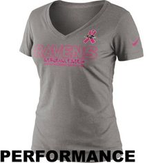 Nike Baltimore Ravens Womens Breast Cancer Awareness Crucial Catch Performance V-Neck T-Shirt - Gray #BCA