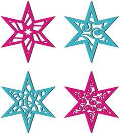 Silhouette Design Store - View Design #35762: 4 christmas stars