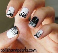 idée pour des ongles en noir et blanc